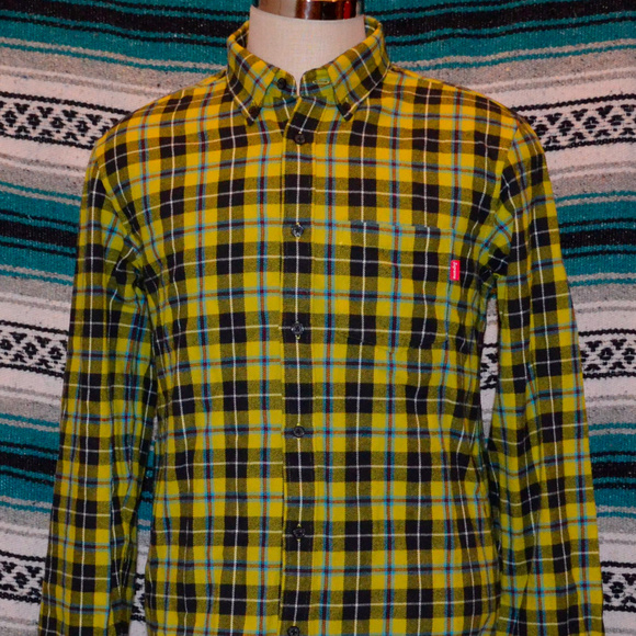881787c3163 Supreme Flannel Shirt Medium Yellow Black. M 5aa1d4e0d39ca241ef8f7ab8